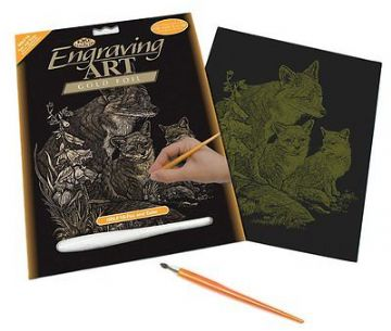 ENGRAVING ART SET - FOX & CUBS (GOLD FOIL) by ROYAL & LANGNICKEL